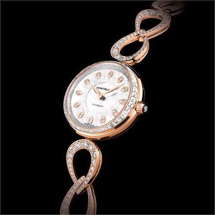 Montblanc Princesse Grace de Monaco Pétales Entrelacés - Rose gold and diamond case and bracelet, mother-of-pearl dial.