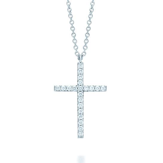 Tiffany & Co.  Metro cross pendant in white gold and diamonds, €1,400