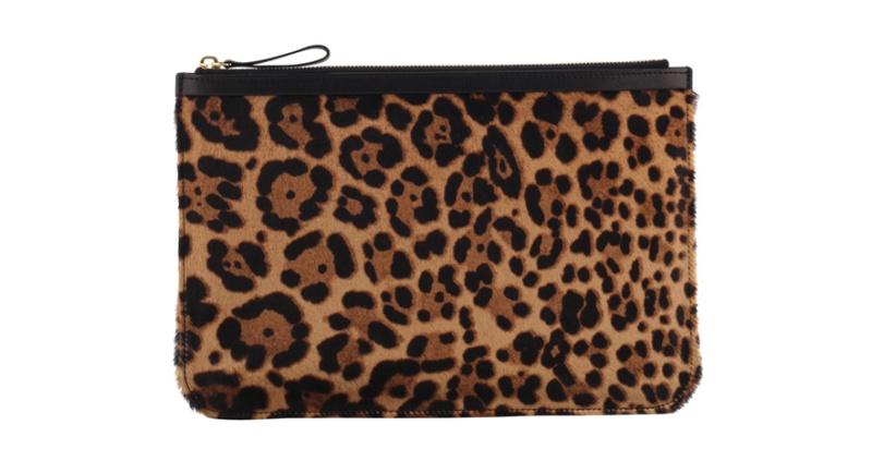 Pierre Hardy  Leopard print poyskin leather pouch, €260.