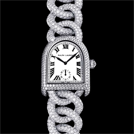 Ralph Lauren Stirrup - Case and bracelet in white gold with 1,911 diamonds.