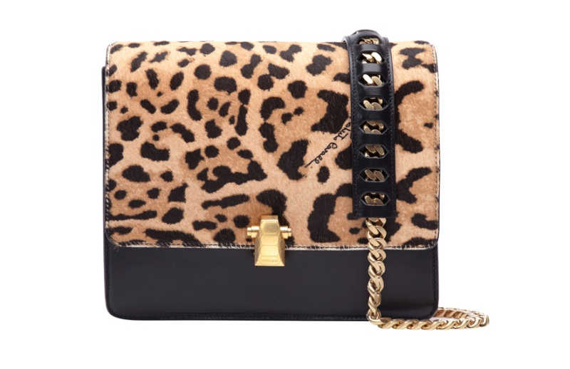 Roberto Cavalli  Hera bag in black leather and leopard print ponyskin, €1500.