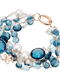 Zoccai - Red gold bracelet with London Blue topazes, pearls and diamonds.