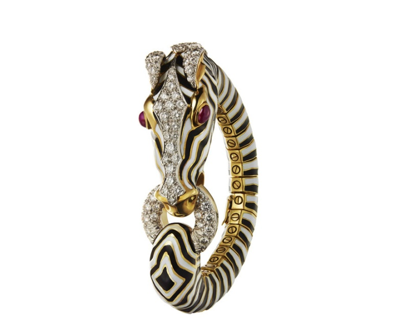 David Webb's birthday book  Photo: Webb Zebra Bracelet in enamal, diamonds, rubies, platinum and gold, 1963
