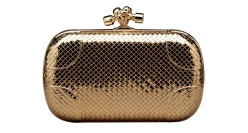 Bottega Veneta Knot clutch in 18-carat braided gold with diamonds. Price on application.