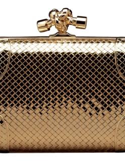 Bottega Veneta Knot clutch in 18-carat braided gold with diamonds. Price on application.