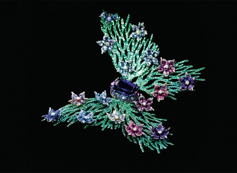 Modern Haute Joaillerie  Photo: Wallace Chan's mobile brooch in tanzanites, pink and blue sapphires, rubies, green garnets, white diamonds and titanium