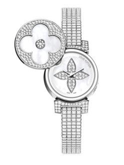Louis Vuitton Horlogerie The 22mm white gold diamond pavé Tambour Bijou Secret watch set with 495 diamonds. Price on request.