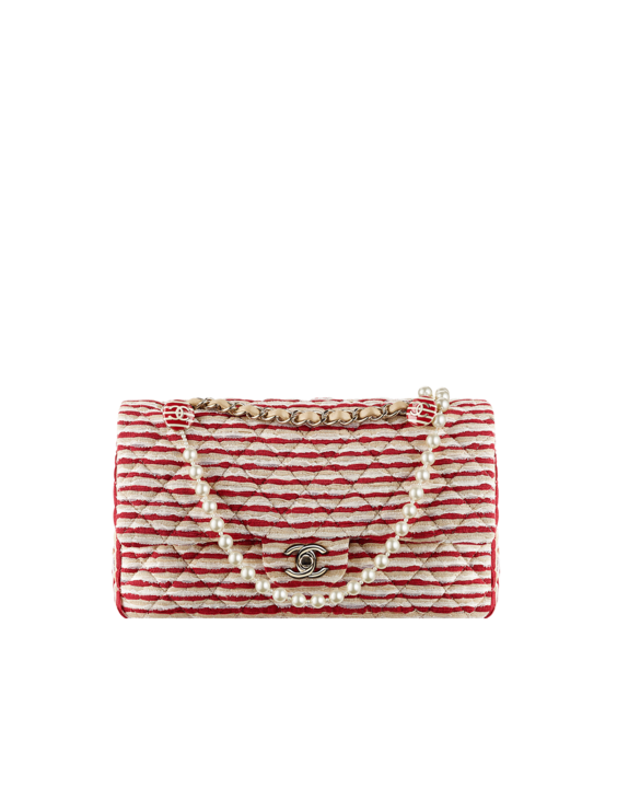 Fabric Flap Bag With Interlaced Chain and Pearls
