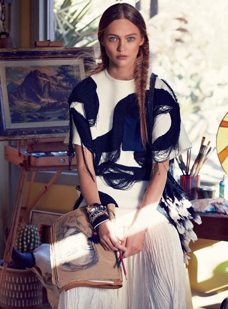 Sasha Pivovarova for Vogue February 2014 - Portrait Of The Artist