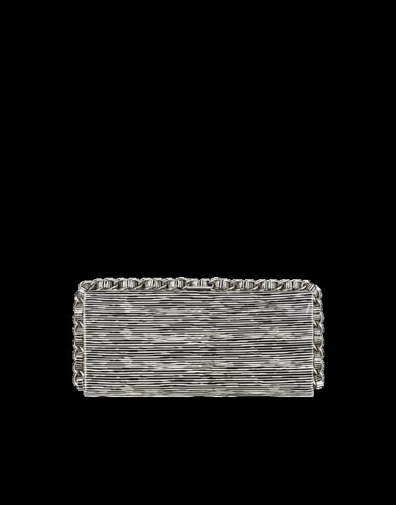 Striped Patent calfskin Clutch