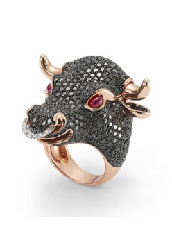 18 carat rose gold Bull ring, set with rubies and black diamonds, by Roberto Coin
