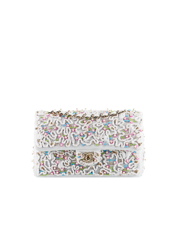 Classic Flap Bag Embroidered with Sequins and Pearls