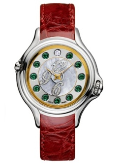 Fendi Crazy Carats Two-Tone - Steel, yellow gold, green topaze, diamond and mother-of-pearl watch.