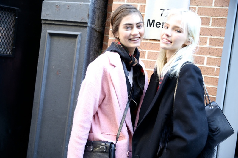 Street Looks at New York Fashion Week: Day 1, Marine Deleeuw and Devon Windsor