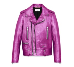 Saint Laurent classic motorcycle jacket in Fuchsia Metallic Leather, price upon request ysl.com