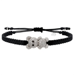 Pippo Perez - Black nautical string and white gold bracelet with white and black diamonds