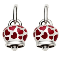 Chantecler - Silver earrings with enamel red hearts