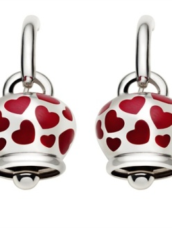 Chantecler - Silver earrings with enamel red hearts
