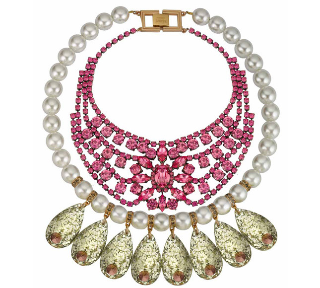 Necklace with crystals, artificial pearls and artificial gems from Galaxy Rocks collection - MAWI