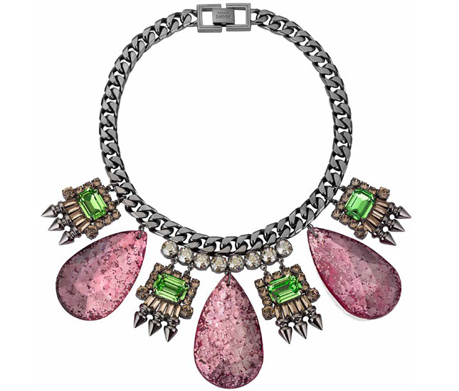 Necklace with crystals and artificial gems from Galaxy Rocks collection - MAWI