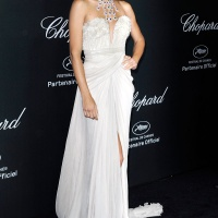 Newly Single Adriana Lima In White Elie Saab Dress at Chopard Party in Cannes