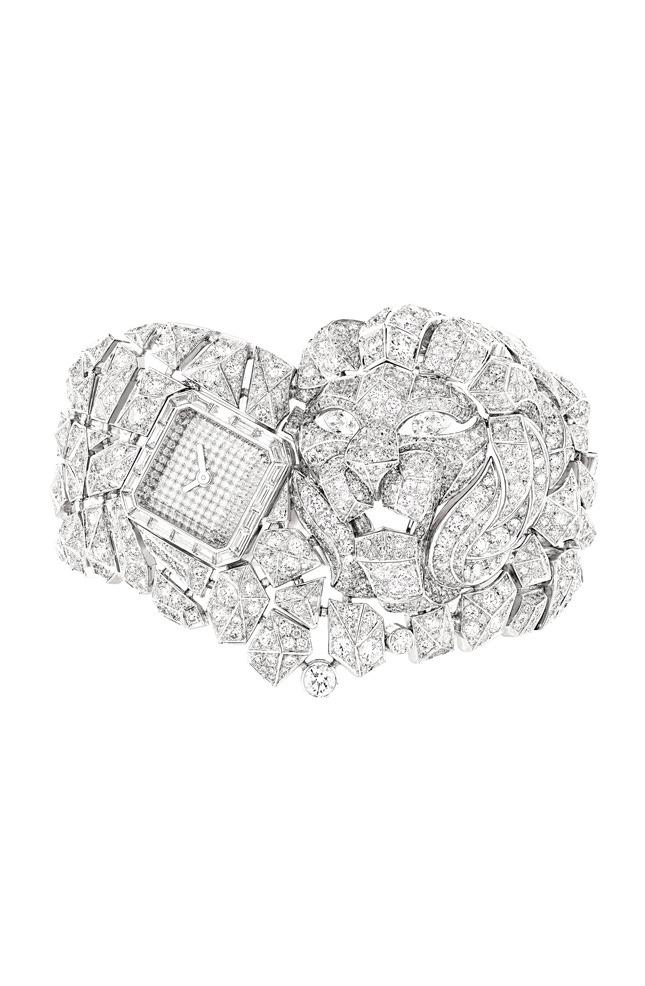Lion Mosaïque watch, white gold and diamonds