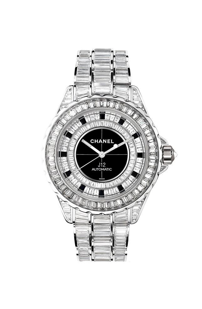 J12 Haute Joaillerie watch, white gold, diamonds, black ceramic