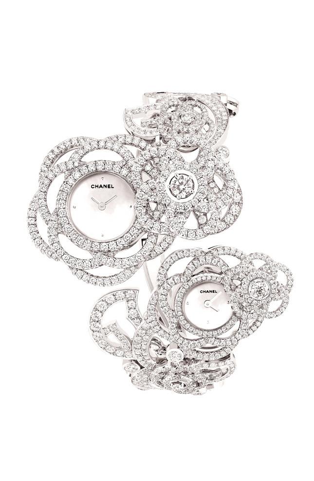 Camelia watch,  white gold and diamonds
