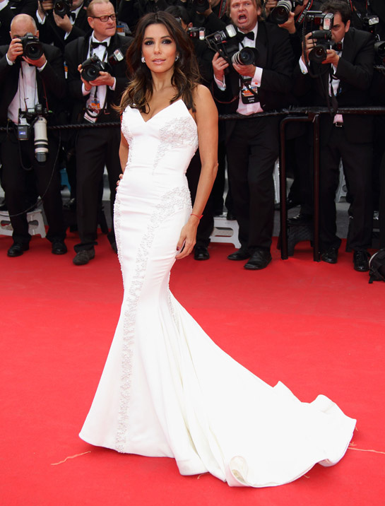 L'Oréal Paris muse Eva Longoria in Gabriela Cadena, Brian Atwood shoes and Diamiani jewelry